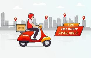 Delivery Boy Riding Scooter with Cityline Background vector