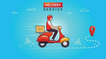 Delivery Service Template with Man Riding Scooter vector