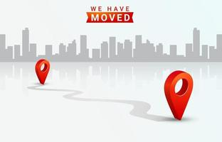 Location Changed Announcement Template Design vector