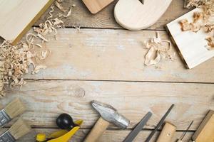 vista superior, carpintero, conjunto, herramientas foto