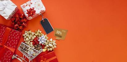 Top view Christmas shopping composition photo