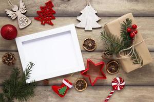 maqueta de marco de navidad de vista superior foto