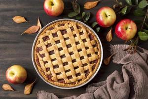 vista superior deliciosa tarta de manzana foto