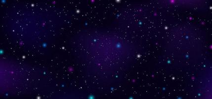Night sky outer space stars nebula constellation on dark background. vector