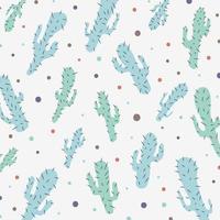 Dibujado a mano patrón de color de pasteles de cactus aislado sobre fondo blanco. vector