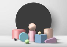 Conjunto de pantalla de color pastel de objeto geométrico 3D sobre fondo de círculo negro y fondo blanco vector