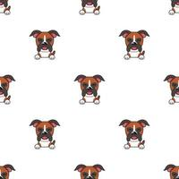 Pattern of character boxer dog faces showing different emotions vector