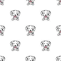 Pattern of character dalmatian dog faces showing different emotions vector