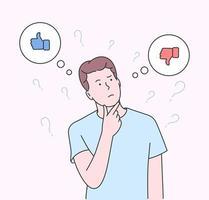 elección, pensamiento, duda, concepto de problema. chico joven parado confusamente para elegir sí o no. ilustración plana moderna vector