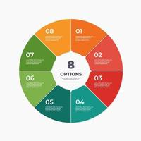 Circle chart infographic template with 8 options. vector