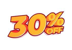30 percent off sale tag. Sale of special offers. Discount with the price is 30 percent. vector