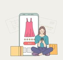 Young woman customer cartoon character buyer hold phone, making payment online. Web catalogue and confirmation purchase remotely illustration. vector