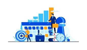 business management strategy with mini people worker businessman flat illustration vector