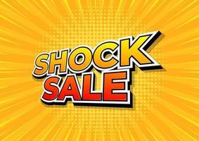 Venta de choque sobre fondo amarillo de cómics. plantilla de diseño de venta de choque. vector