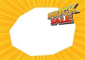Venta de choque en banner de fondo de cómics amarillos. plantilla de diseño de venta de choque. vector