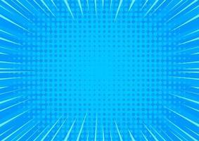 Pop art blue comics background. Abstract cartoon style halftone zoom banner. vector