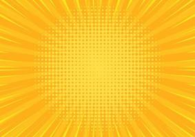 Pop art yellow comics background. Abstract cartoon style halftone zoom banner. vector