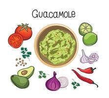 ingredientes de la receta de guacamole de aguacate. verduras y especias para cocinar guacamole - tomate, aguacate, lima, ajo, pimiento, beagle, cilantro, ensalada. Ilustración de vector de libro de cocina mexicana