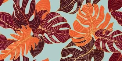 Floral seamless pattern with tropical leaves and flowers. Nature lush background. Flourish garden texture with line art leaves vector