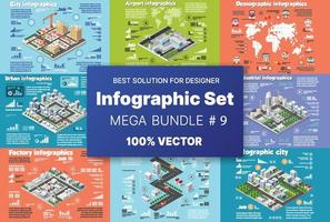 Isometric set infographics concept of blocks module of areas of the building construction and designing of the perspective city of design of the urban environment vector