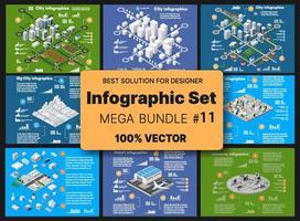 concepto de infografía conjunto isométrico de módulo de bloques de áreas de la construcción del edificio y diseño de la perspectiva ciudad de diseño del entorno urbano vector