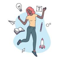 Creative Professions concept. Female designer, illustrator or freelance worker immersed in the creative process. Flat vector illustration.