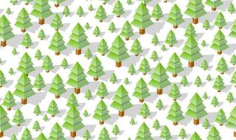 Winter Seamless forest plan pattern map background. Isometric green botanical structure landscape of trees park vector
