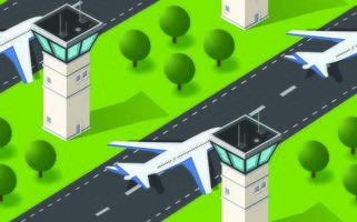 Seamless pattern Isometric 3D city airport with transport aircraft and the runway vector