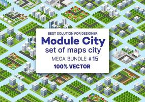 Isometric set architecture design houses buildings transportation of blocks module of areas of the city construction, and designing of the perspective apartment of business of the urban environment vector