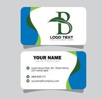 Cannabis Initial Letter B Business Card vector