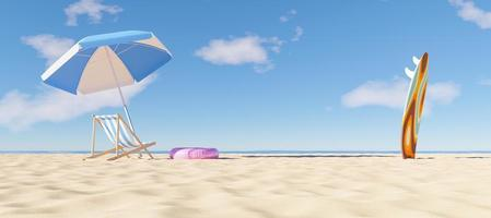 Sunshade with hammock and surfboard on the beach, 3d render photo