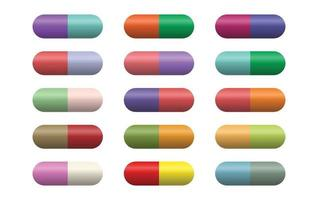 Capsules pills on white background vector