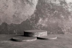 Dark concrete podium for product display, 3d render photo
