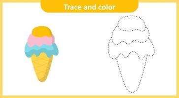 trazar y colorear helado vector