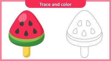Trazar y colorear helado de sandía. vector