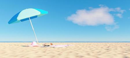 Parasol, hat, sunglasses and bag on the beach, 3d render photo