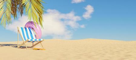 Hammock with float and flip flops on beach sand with palm tree shade, 3d render photo