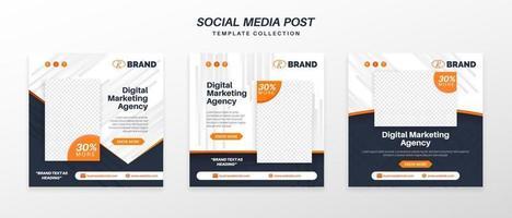Social Media Post Template Collection Digital Marketing vector