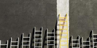 Metal ladders on black concrete wall with a golden ladder, 3d render photo
