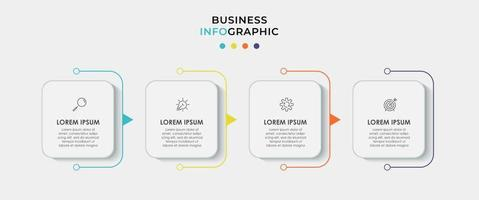 El vector de diseño de infografías y los iconos de marketing se pueden utilizar para el diseño de flujo de trabajo, diagrama, informe anual, diseño web. concepto de negocio con 4 opciones, pasos o procesos.