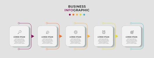 El vector de diseño de infografías y los iconos de marketing se pueden utilizar para el diseño de flujo de trabajo, diagrama, informe anual, diseño web. concepto de negocio con 5 opciones, pasos o procesos.