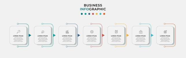 El vector de diseño de infografías y los iconos de marketing se pueden utilizar para el diseño de flujo de trabajo, diagrama, informe anual, diseño web. concepto de negocio con 7 opciones, pasos o procesos.