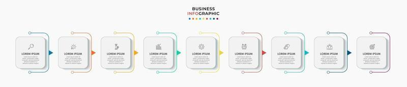 Infographics design vector and marketing icons can be used for workflow layout, diagram, annual report, web design. Business concept with 9 options, steps or processes.