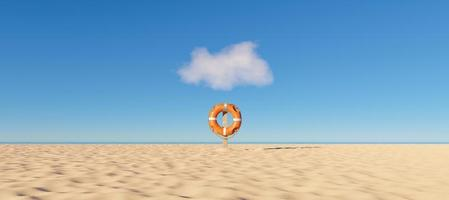Lifebuoy alone on a beach, 3d render photo