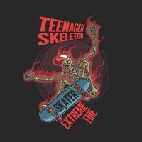 teenager skeleton playing extreme skate illustration vector