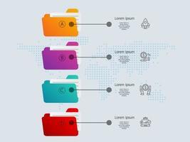 vertical folder infographics presentation element tamplate vector