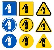 Fire extinguisher icon sign set vector