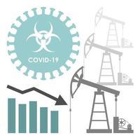 caída del costo del petróleo por coronavirus vector