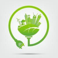 ideas energéticas para salvar el concepto mundial, enchufe de alimentación ecología verde vector