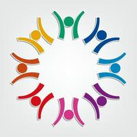 Group of eight people in a circle vector